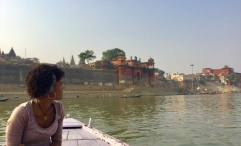 On a boat on the Ganges River in Varanasi, India