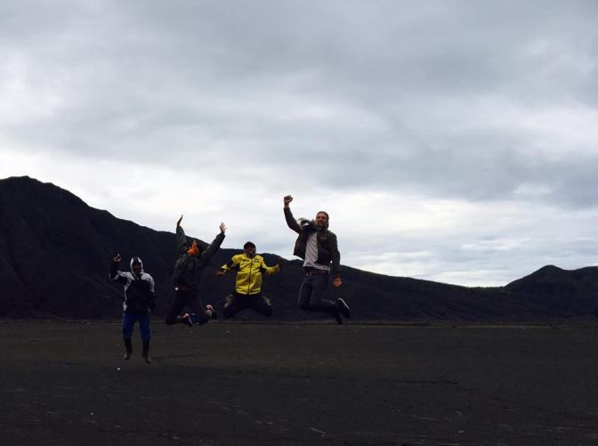 Jumping contest with Niels and our guides