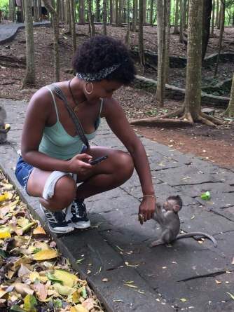 My baby monkey friend and me at the Monkey Forest in Bali, Indonesia